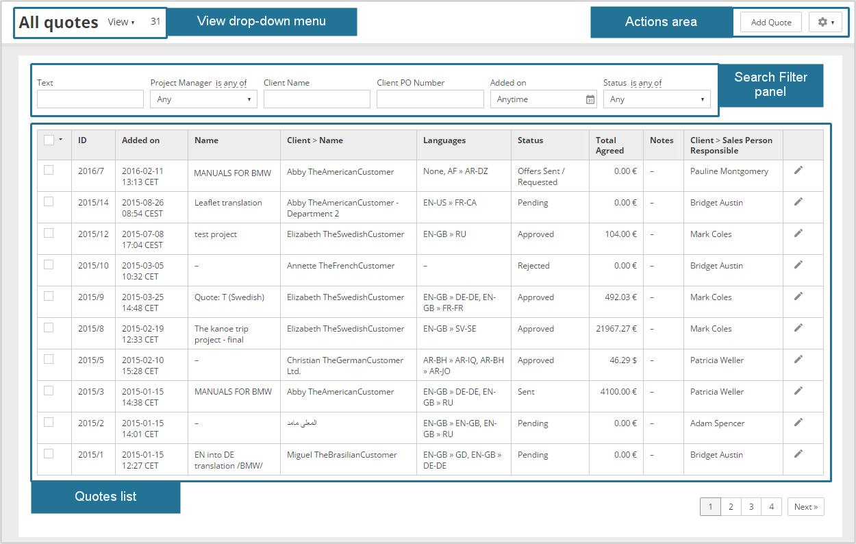 Quote List Quote Management Quotes Module  Smart Projects Documentation